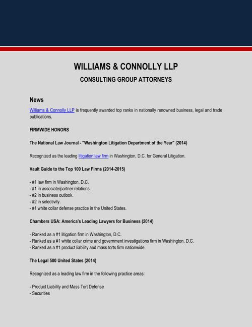 Williams & Connolly LLP News