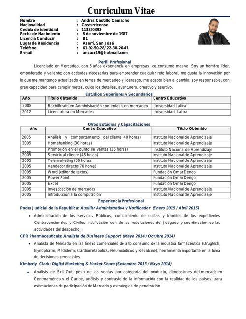 Curriculum Vitae Andrés Castillo v.f
