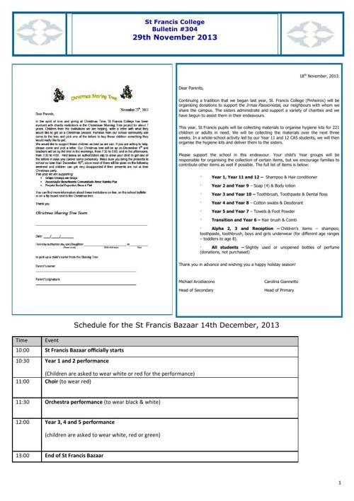Saint Francis Bulletins 2013/2014