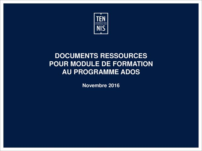 Ressources formateur Programme ADOS