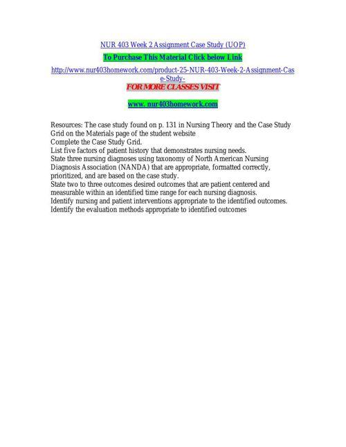 NUR 403 Week 2 Assignment Case Study (UOP)