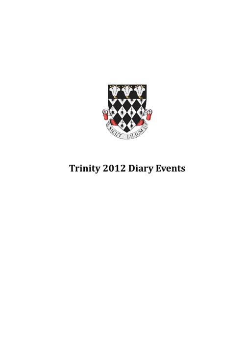 Trinity Diary 2012