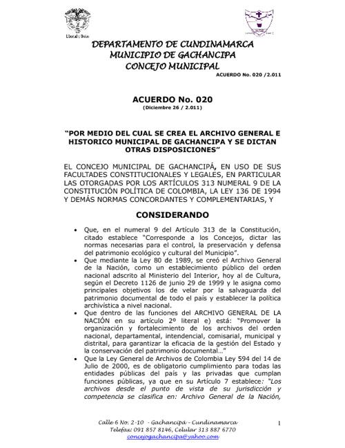 ACUERDO 020. ARCHIVO GENERAL E HISTORICO