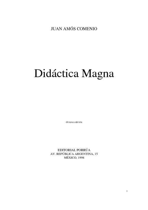 Didáctica Magna- Comenio