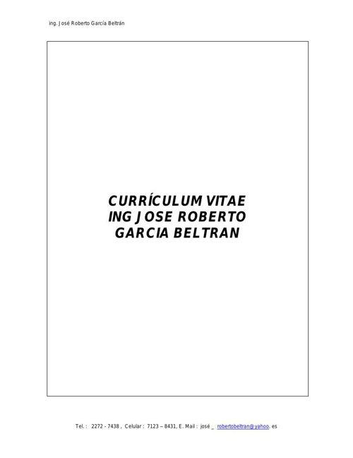 CURRICULUM VITAE ING ROBERTO GARCIA