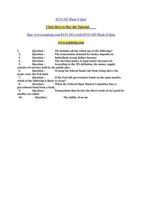 ECO 203 Week 4 Quiz