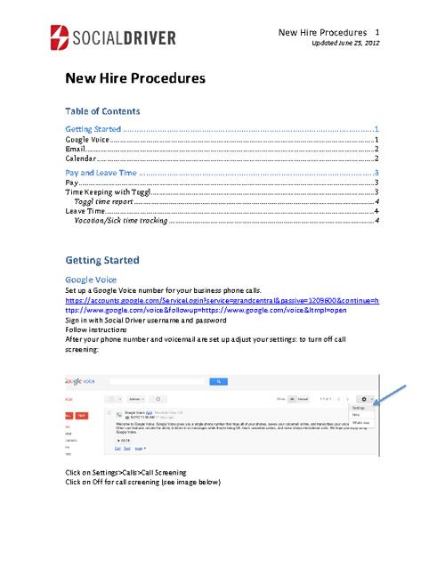 New Hire Procedures