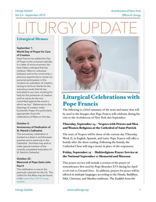 Liturgy Update September 2015