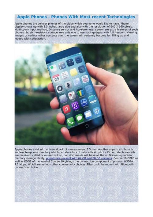 Apple Phones - Phones With Most recent Technologies