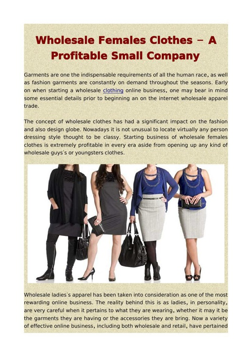 Wholesale Females Clothes - A Profitable Small Company