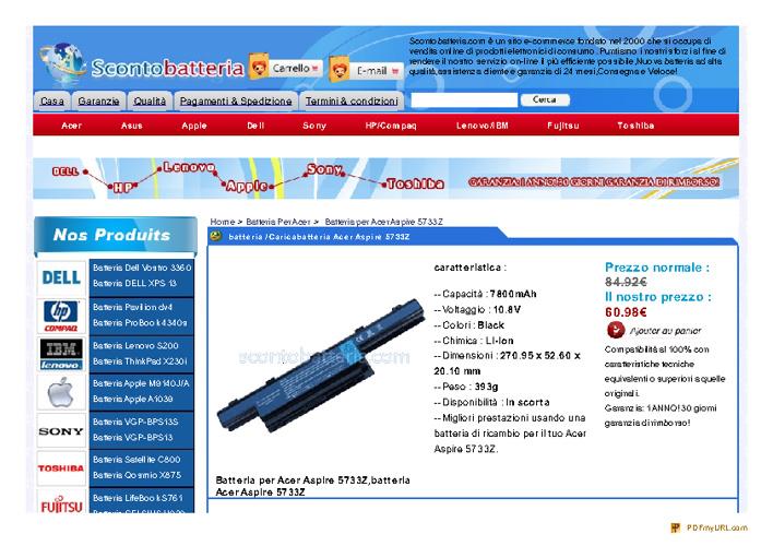 Batteria acer 5733z