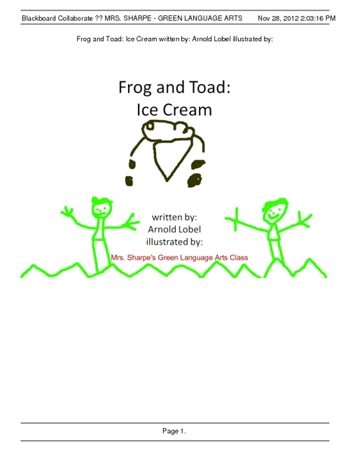 Frog and Toad: Ice Cream