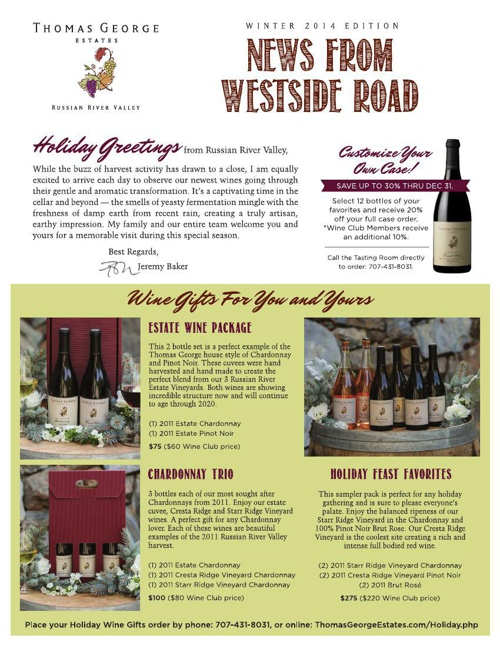 Thomas George Estates Newsletter - Winter 2014