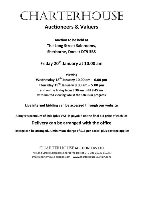 Charterhouse January 2017 Antique Auction Catalogue