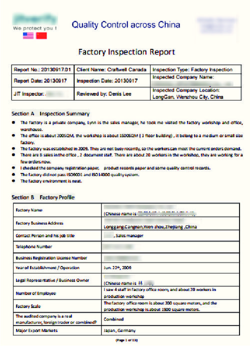Flipsnack - Factory Inspection Report  By Craftwell