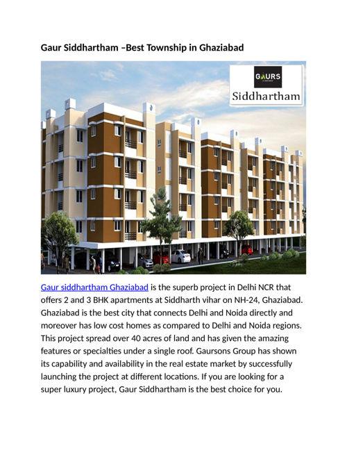 Gaur Siddhartham Spacious Home