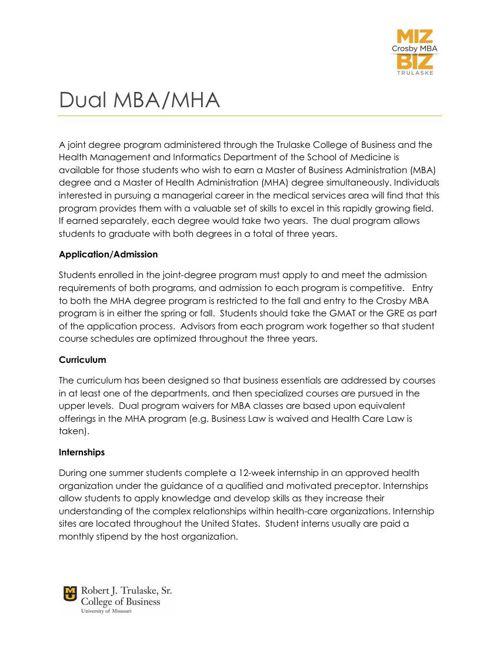 MHA-MBA Dual Degree Information
