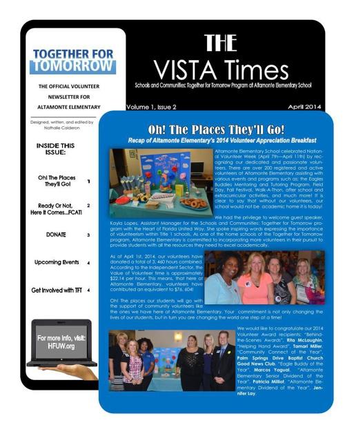 VISTA Times Volume 1 Issue 2- April Newsletter