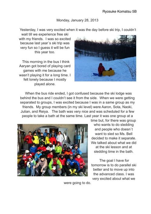 Ryosuke's ski trip