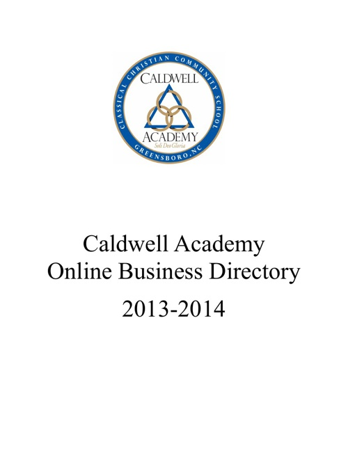 Caldwell Academy Online Business Directory 2013-2014