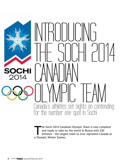 Oakville Voice. Introducing the Sochi 2014 Canadian Olympic Team