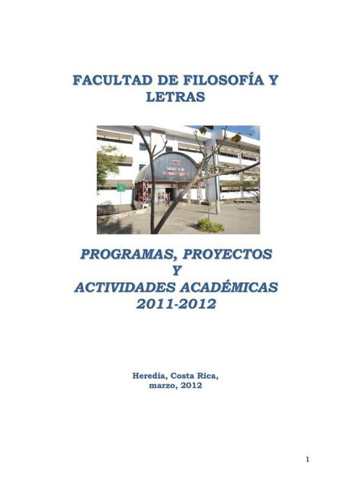 Programas, proyectos y actividades académicas 2011-2012