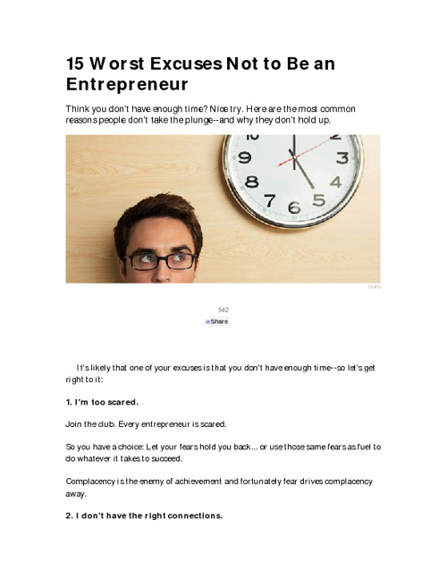 15 Worst Excuses/ Entrepreneur