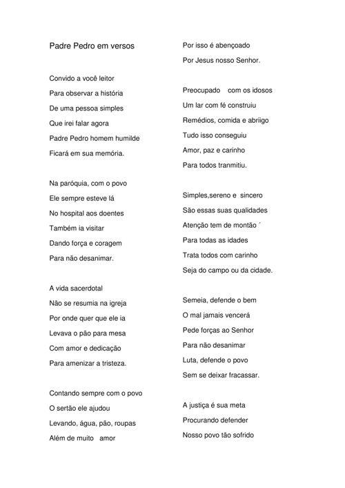 POEMA- Padre Pedro