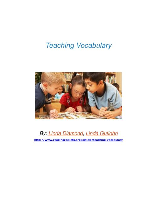 Teaching Vocabulary for Reading