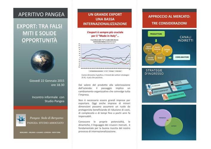 EXPORT: TRA FALSI MITI E SOLIDE OPPORTUNITA' 22 gennaio 2015