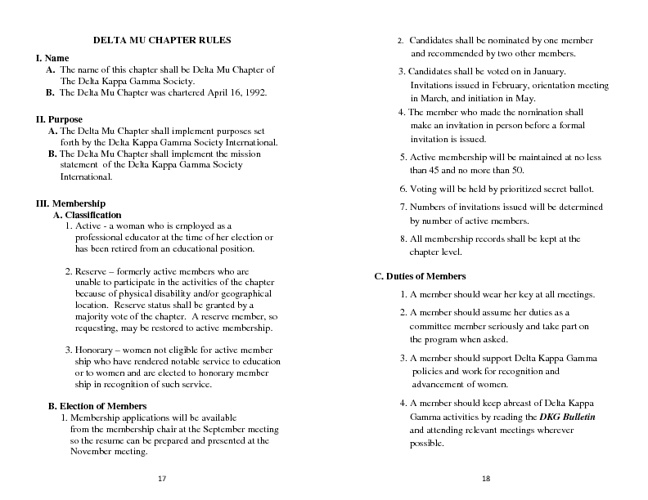 Delta Mu Chapter Rules