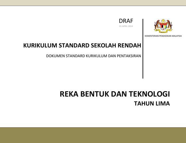 Dokumen Standard Reka Bentuk dan Teknologi Tahun 5