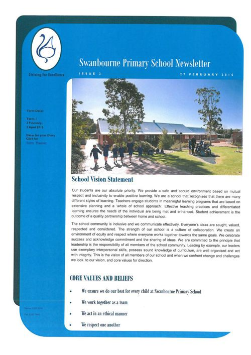 Swanbourne Newletter No 2  February 27 2015