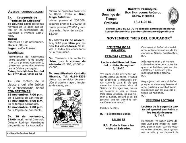 Boletín XXXIII Domingo del Tiempo Ordinario