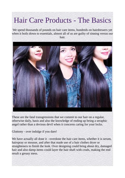 Hair Care Products - The Basics