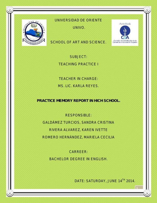 second memory report high school oficial