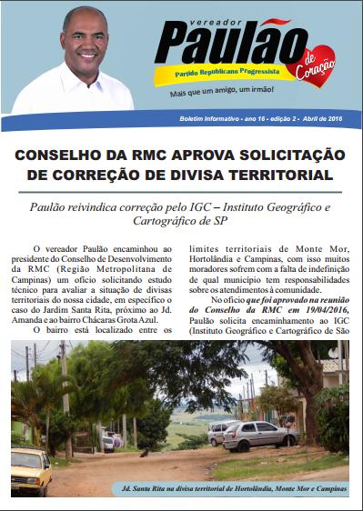 Boletim Informativo - Divisão Territorial Jardim Santa Rita