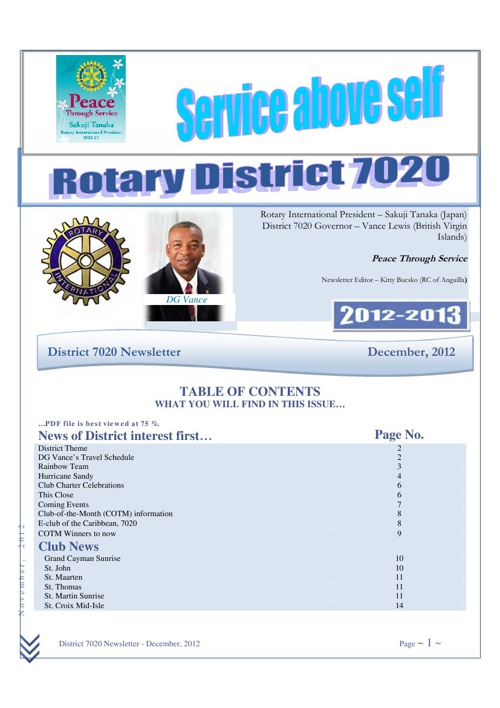 District 7020 Dec 2012 newsletter