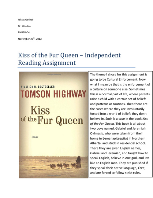 Kiss of the Fur Queen - Independent Reading Novel