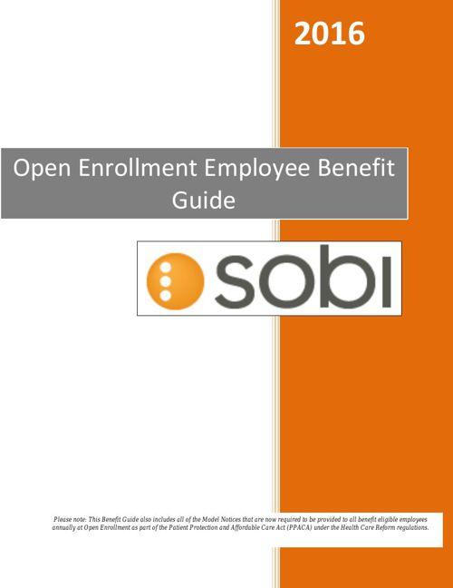 Sobi Open Enrollment Benefit Guide 2016 - FINAL