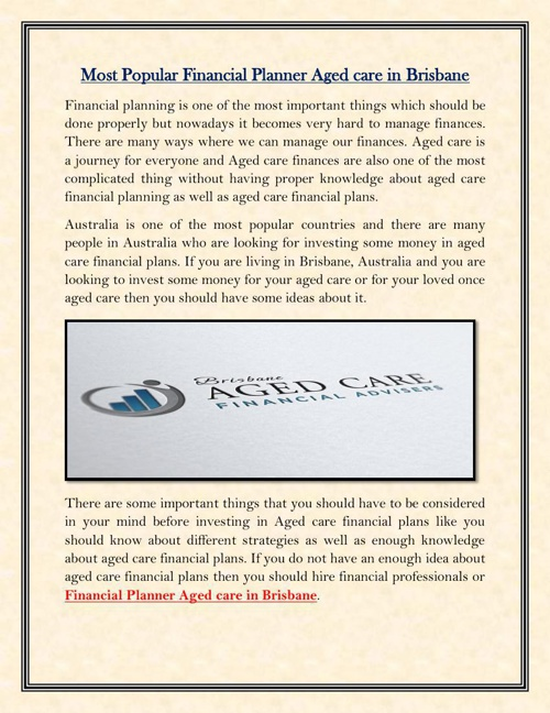 Most Popular Financial Planner Aged care in brisbane