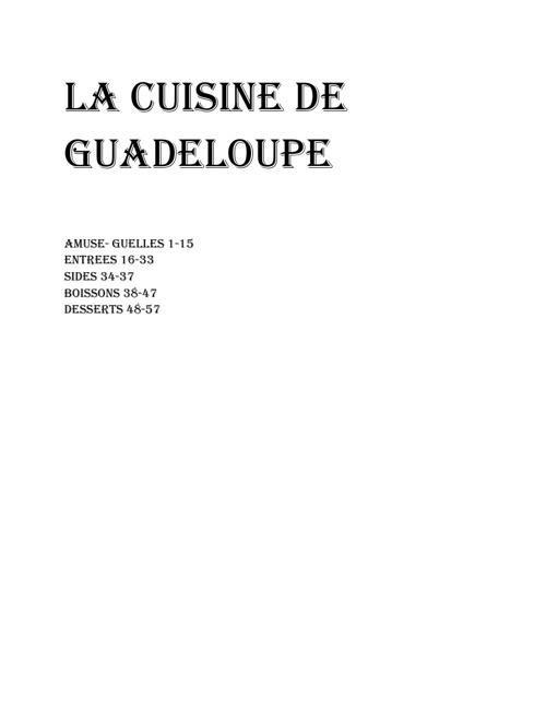 La cuisine de Guadeloupe
