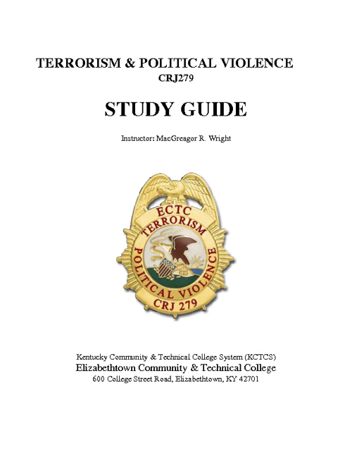Terrorism & Political Violence - STUDY GUIDE