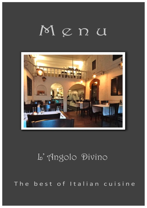 Menu L'Angolo Divino in English and Italian
