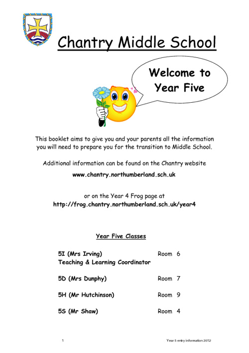 Yr 5 Entry Information 2012 Booklet