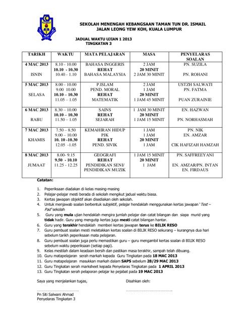 Jadual Ujian 1 Tingkatan 3 Tahun 2013