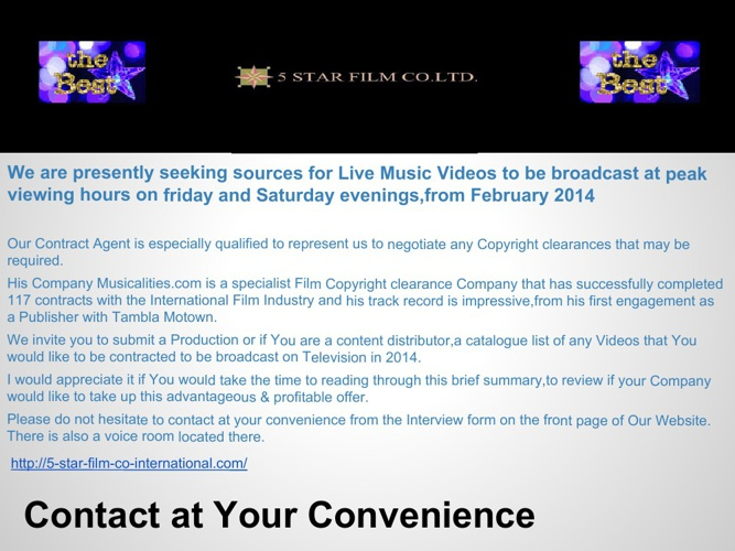 Media Broadcasting Contracts are Available. (1)