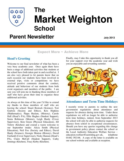 Parent Newsletter Summer 2013