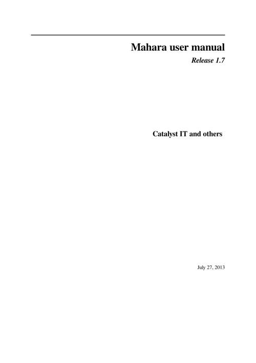 Mahara Handbook