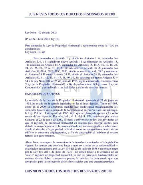 ley 103 -2013